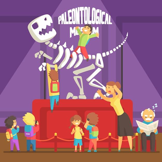 Groupe D'enfants Faisant Un Gâchis Au Musée De Paléontologie Avec Squelette T-rex Vecteur Premium