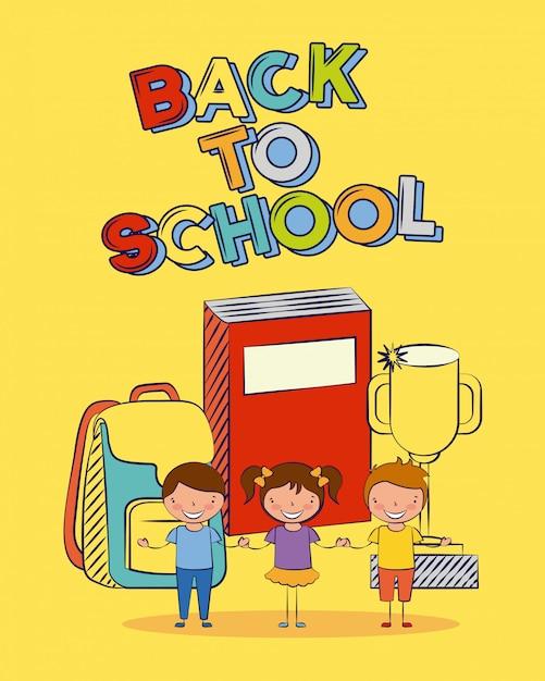 Groupe d'enfants heureux autour du livre, retour à l'école, illustration modifiable Vecteur gratuit