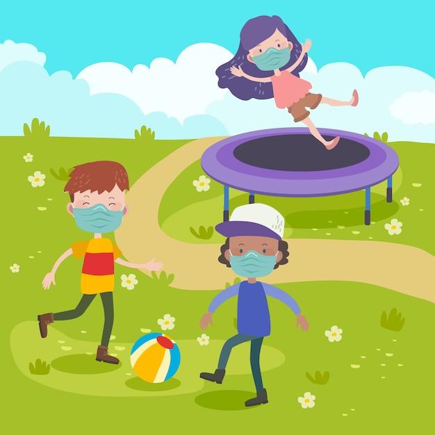 Groupe D'enfants Jouant Ensemble Vecteur gratuit