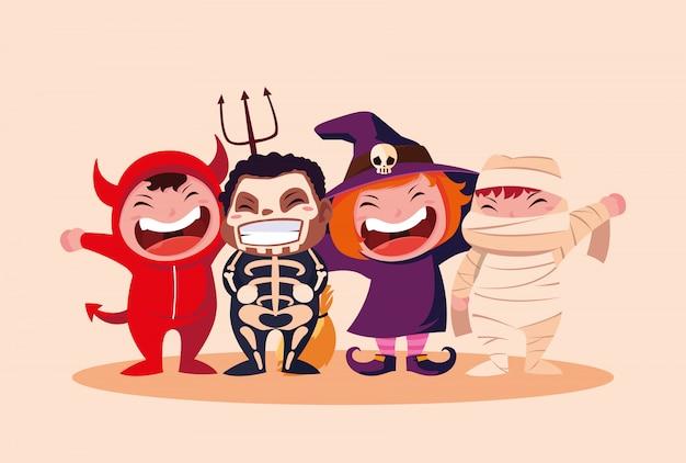 Groupe d'enfants mignons déguisés pour halloween Vecteur Premium