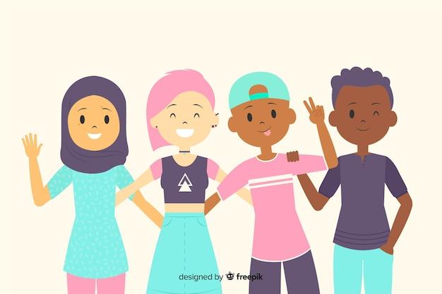 Groupe d'enfants posant pour une photo Vecteur gratuit