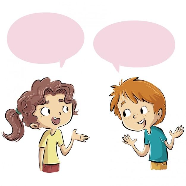 Groupe d'enfants qui parlent Vecteur Premium