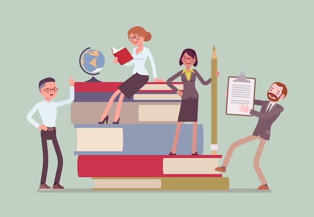 Groupe D'enseignants Aux Livres Géants Vecteur Premium