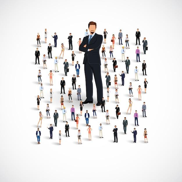 Groupe de l'équipe d'affaires Vecteur Premium
