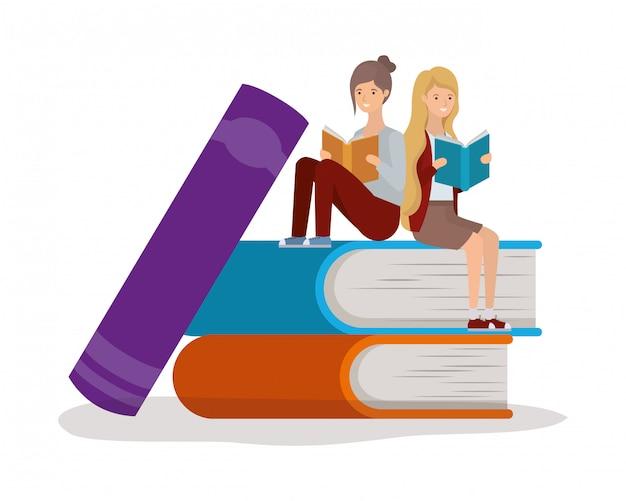 Groupe d'étudiants filles lisant des livres Vecteur Premium