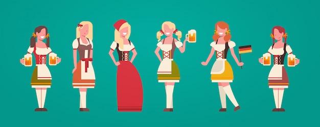 Groupe De Femme Serveuse Portant Des Vêtements Traditionnels Allemands Femme Tenue Bière Tasses à Bière Concept Oktoberfest Vecteur Premium