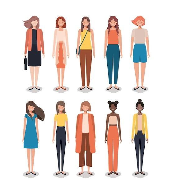 Groupe de femmes amis personnages Vecteur Premium