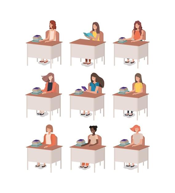 Groupe de femmes assises au bureau Vecteur Premium