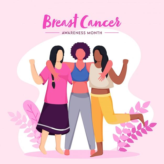 Groupe De Femmes Combattant Sans Visage Ensemble Contre Le Cancer Du Sein Sur Fond Rose Et Blanc Pour Le Mois De La Sensibilisation. Vecteur Premium