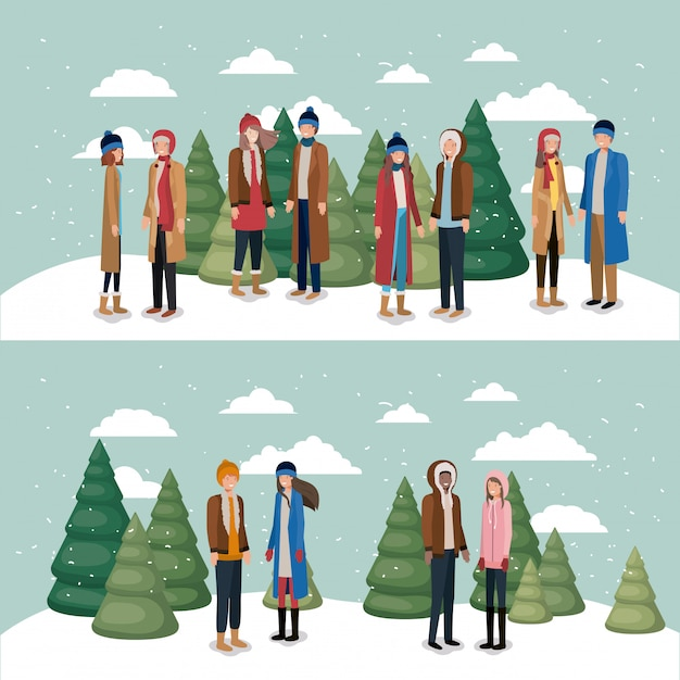 Groupe de femmes dans le paysage de neige avec des vêtements d'hiver Vecteur Premium
