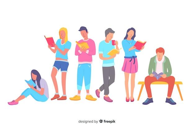 Groupe de femmes et d'hommes lisant une illustration Vecteur gratuit