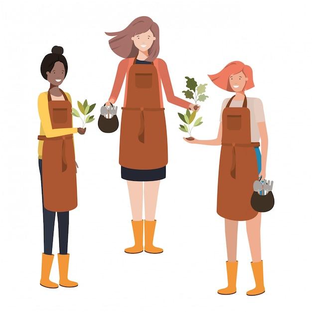 Groupe de femmes jardiniers souriant personnage avatar Vecteur Premium