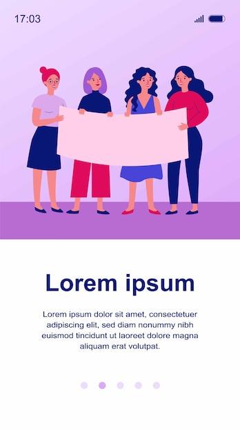 Groupe De Femmes Rassemblant Pour Illustration De Protestation Vecteur Premium