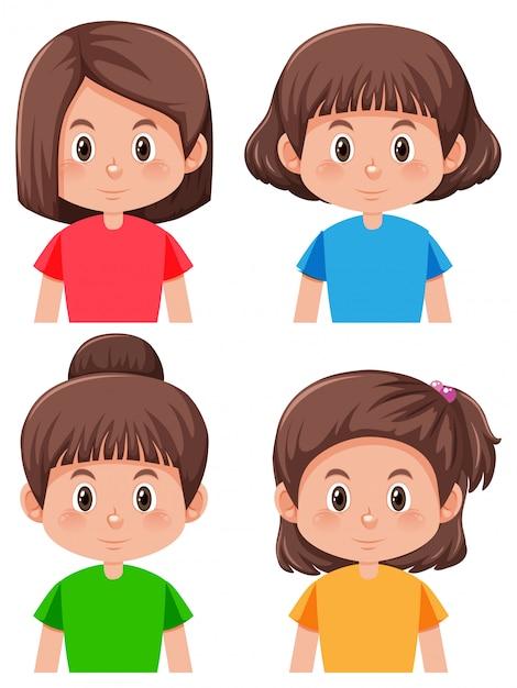 Groupe de fille de coiffure différente Vecteur gratuit