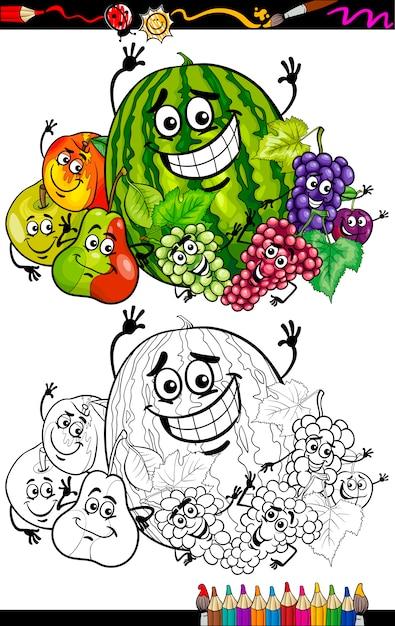 Coloriage Pomme Et Oignon Dessin Anime.Groupe De Fruits De Dessin Anime Pour Livre De Coloriage