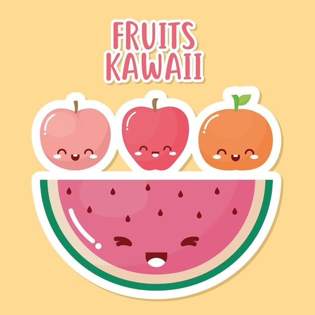 Groupe De Fruits Kawaii Avec Lettrage Kawaii Fruits Sur Fond Jaune. Vecteur Premium
