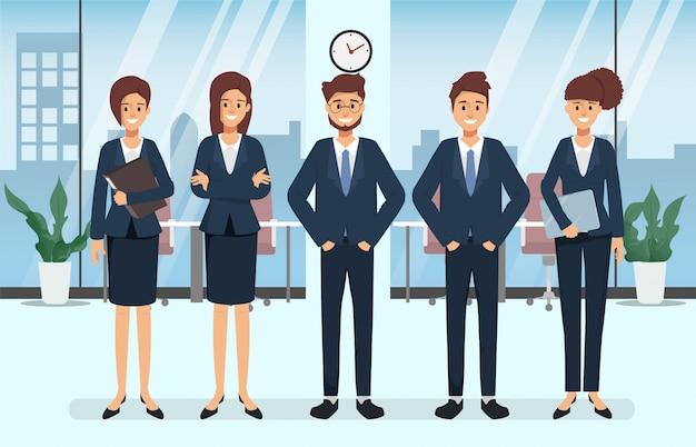 Groupe de gens d'affaires scène de séminaire de caractère dans le bureau. Vecteur Premium