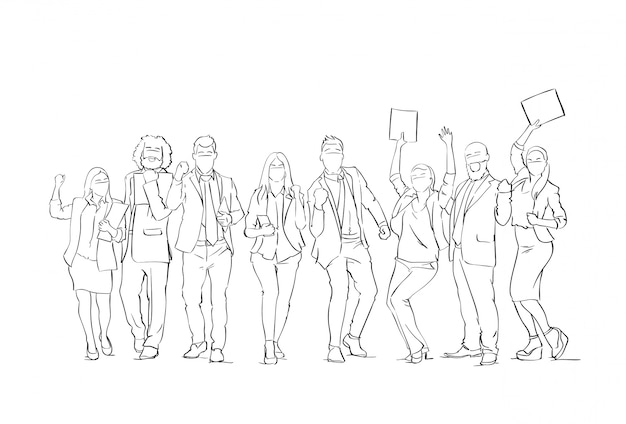 Groupe de gens d'affaires silhouette joyeuse croquis équipe de gens d'affaires heureux avec les mains surélevées sur fond blanc Vecteur Premium