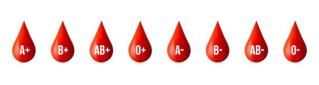Groupe de groupe sanguin, élément du jour du donneur de médicaments. Vecteur Premium