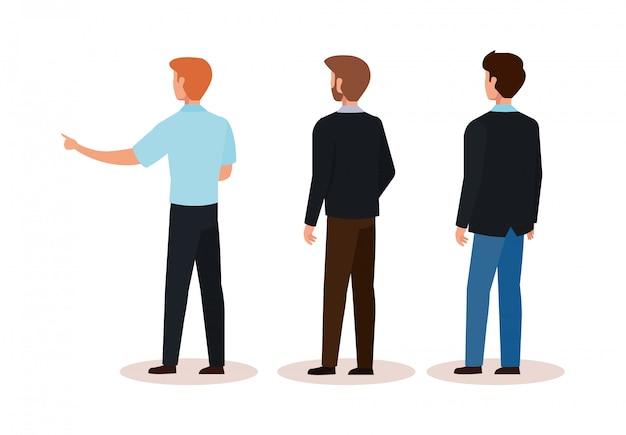 Groupe d'hommes d'affaires de caractère avatar de dos Vecteur gratuit