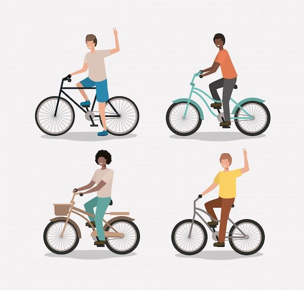 Groupe d'hommes à vélo Vecteur Premium