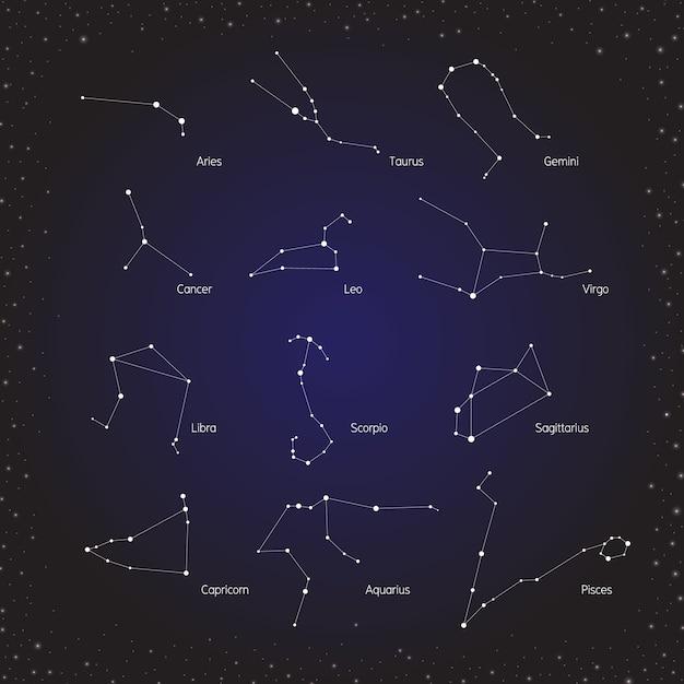 Groupe d'horoscopes du zodiaque Vecteur Premium