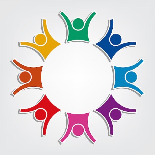 Groupe De Huit Personnes Logo Dans Un Cercle. Travail D'équipe De Personnes Détenant Vecteur Premium