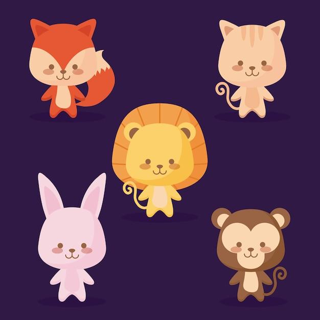 Groupe d'icônes d'animaux mignons Vecteur Premium