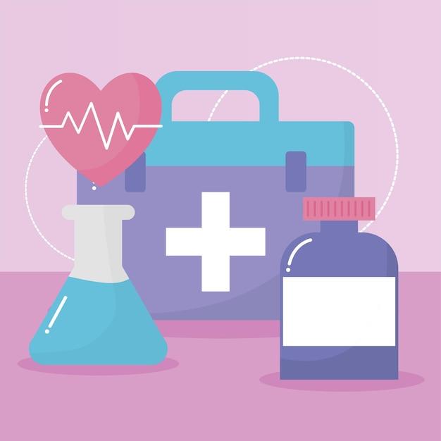 Groupe D'icônes Médicales Sur Rose Vecteur Premium