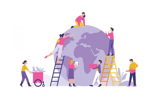 Groupe D'illustration Vectorielle De Personnes Se Préparent Pour Le Jour De La Terre Vecteur Premium