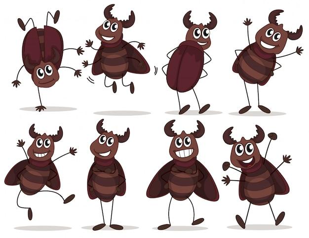 Un groupe d'insectes souriants Vecteur gratuit