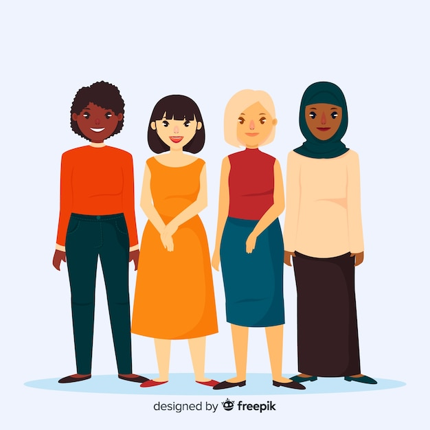 Groupe international de femmes avec un design plat Vecteur gratuit