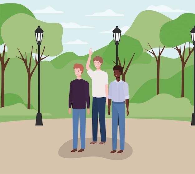 Groupe interracial d'hommes sur le parc Vecteur Premium