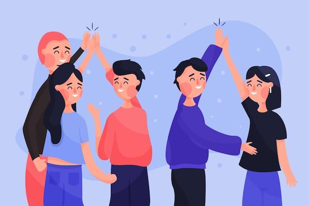 Groupe de jeunes donnant cinq haut Vecteur gratuit