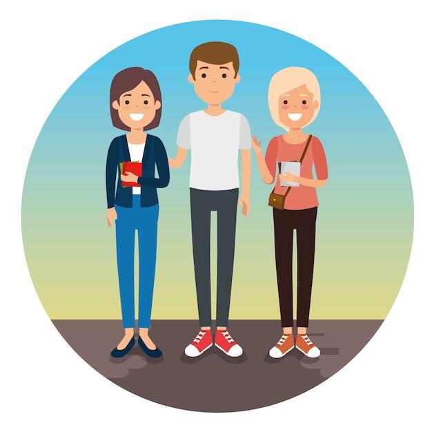Groupe de jeunes génération génération Vecteur Premium