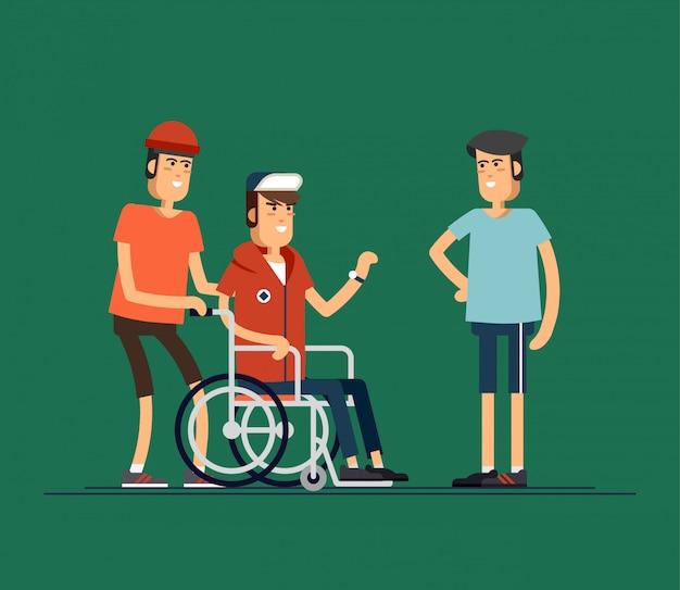 Groupe De Jeunes Heureux Communiquent Entre Eux. Prendre Soin Du Concept De Personnes Handicapées. Iilustration Vecteur Premium