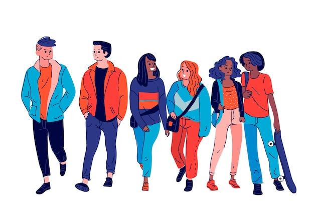 Groupe De Jeunes Illustré Vecteur gratuit