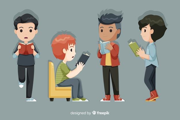 Groupe de jeunes lisant Vecteur gratuit