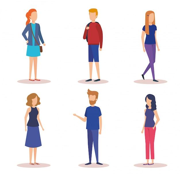 Groupe De Jeunes Personnages Vecteur gratuit