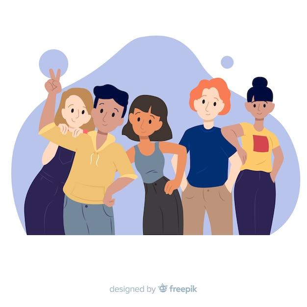 Groupe de jeunes posant pour une photo Vecteur gratuit