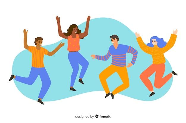 Groupe de jeunes sautant et s'amusant illustré Vecteur gratuit