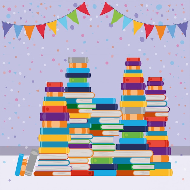 Groupe de livres et fanion Vecteur gratuit