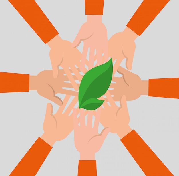 Groupe de mains avec des feuilles Vecteur gratuit