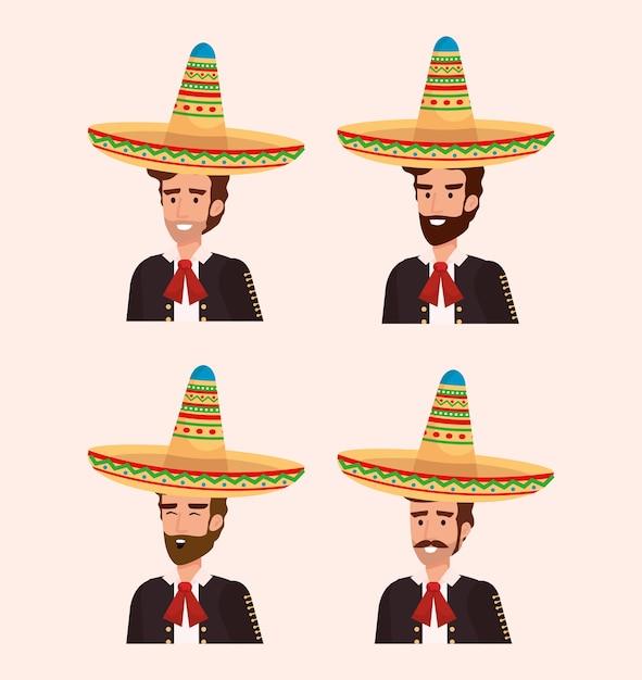 Groupe de mariachis mexicains avec des instruments Vecteur Premium