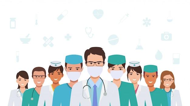 Groupe De Médecin Et D'infirmière S'unissent Pour Lutter Contre La Pandémie De Coronavirus Dans La Conception D'icône Plate Vecteur Premium