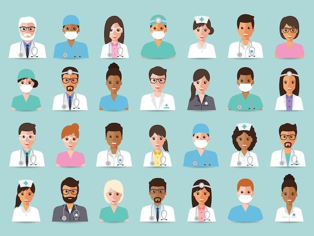 Groupe de médecins et d'infirmières et avatar du personnel médical. Vecteur Premium