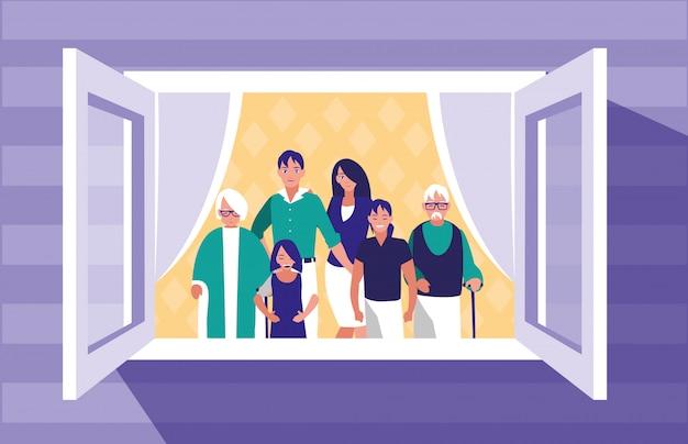 Groupe De Membres De La Famille Dans La Fenêtre Vecteur Premium