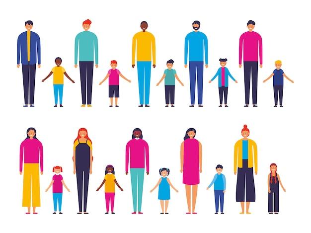 Groupe de membres de la famille interracial Vecteur gratuit