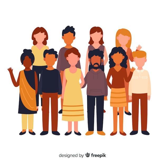Groupe multiracial de personnes différentes Vecteur gratuit