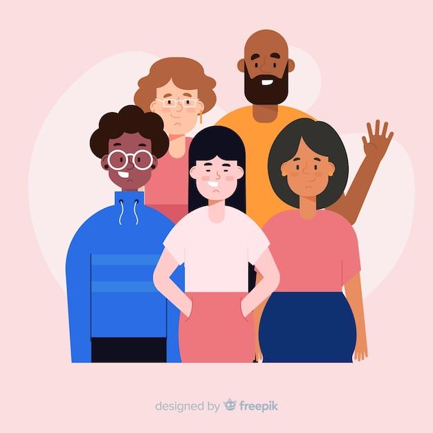 Groupe multiracial de personnes Vecteur gratuit
